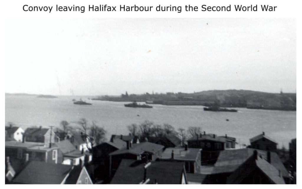 Convoy leaving Halifax Harbour during the Second World War