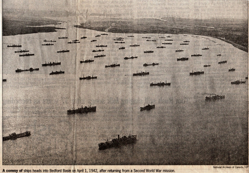 A convoy of ships heads into Basin Basin April 1, 1942