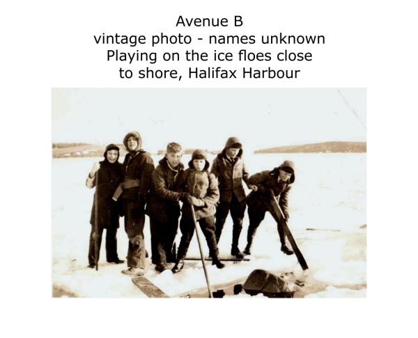 playing on ice floes Halifax Harbour, vintage photo, date unknown