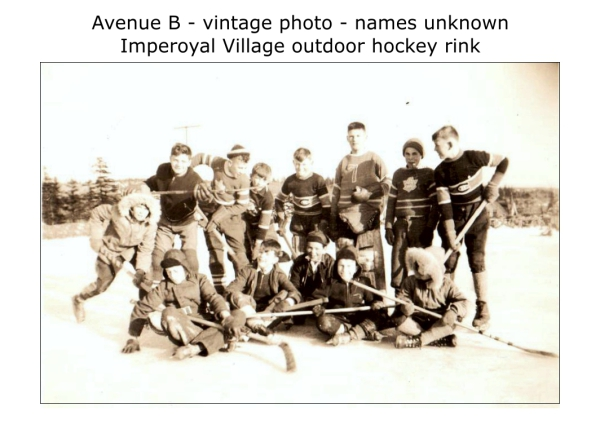 outdoor hockey rink, vintage photo, date unknown