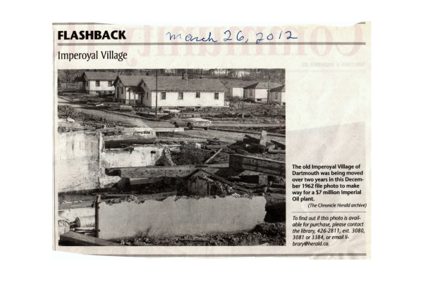"Flashback ""Imperoyal Village"" article in the Chronicle Herald March 26, 2012"