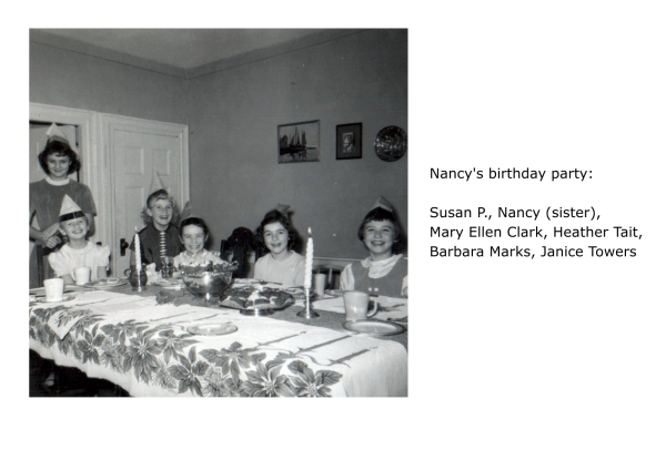 Nancy's birthday party: Susan P., Nancy (sister), Mary Ellen Clark, Heather Tait, Barbara Marks, Janice Towers
