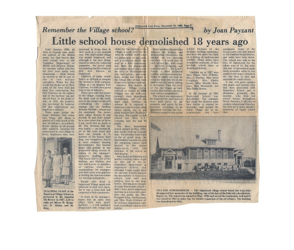 Dartmouth Free Press newspaper article 18 years after Imperoyal School was demolished