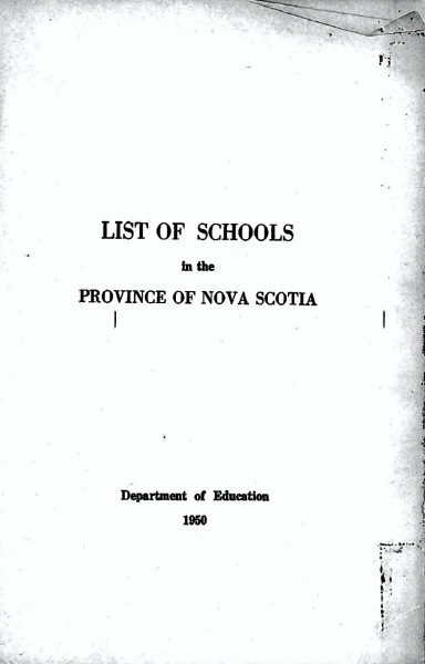 List of schools in the province of Nova Scotia, Department of Education 1950