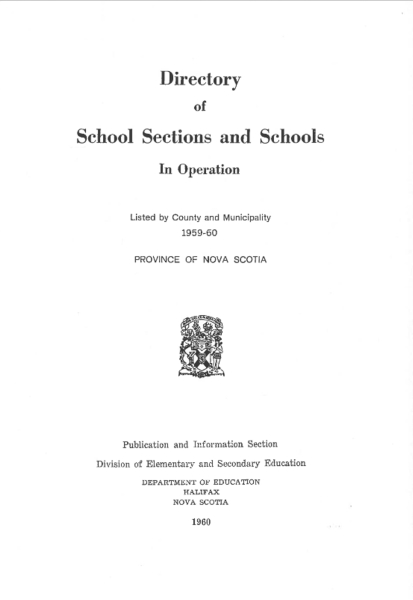 Directory of Schools Sections and Schools 1959-60