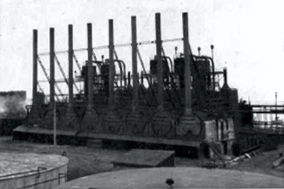 These crude skimming stills were revived to supply bunker fuel to meet the immense demands of wartime shipping.