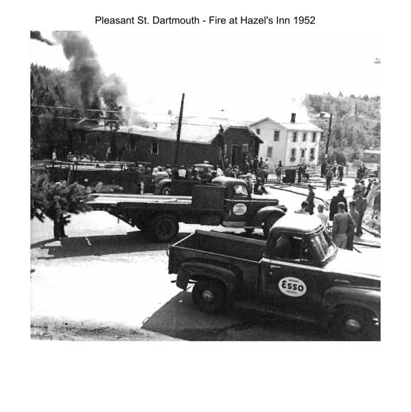 Hazel's Inn on fire 1952, Pleasant Street, Woodside, Dartmouth