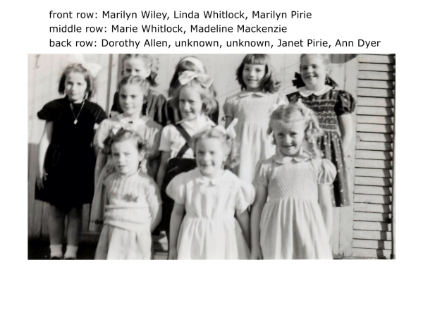 front row: Marilyn Wiley, Linda Whitlock, Marilyn Pirie, middle row: Marie Whitlock, Madeline Mackenzie back row: Dorothy Allen, unknown, unknown, Janet Pirie, Ann Dyer