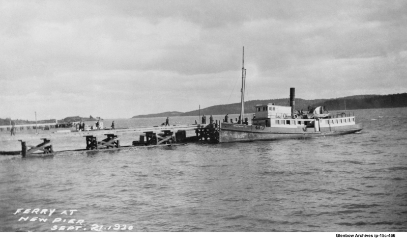 the ferry Wilfred C. bringing construction workers to Imperial Oil Dartmouth, Sept 21, 1920
