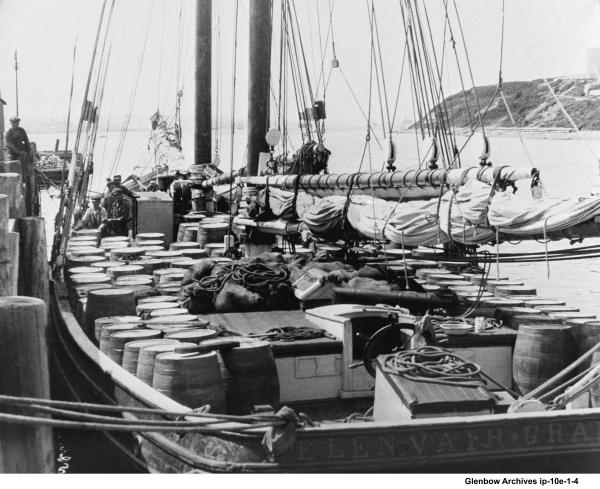 "Barrels onboard ""Ellen Vair"" from Imperial Oil Dartmouth. 1919"