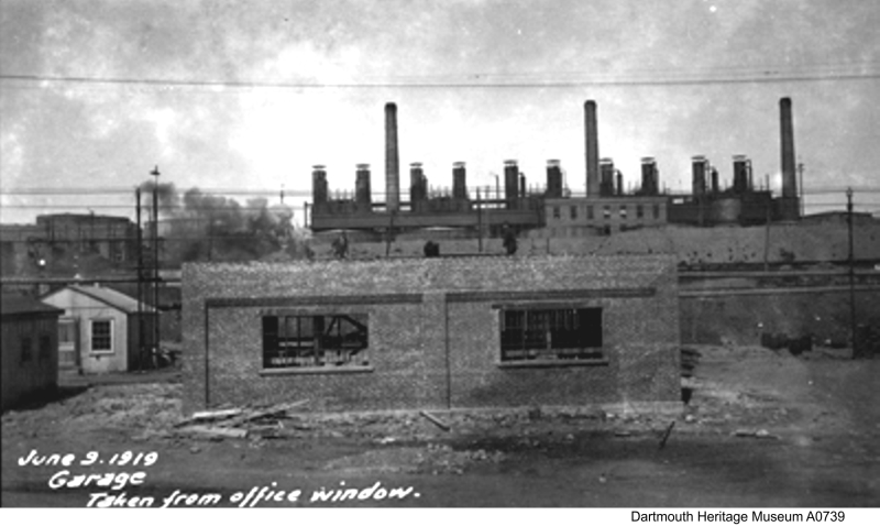 garage, taken from the main office, Imperial Oil's Imperoyal Refinery in Dartmouth June 9, 1919