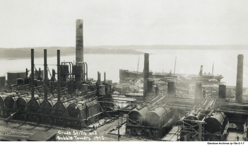 View of Imperial Oil refinery Dartmouth, NS December, 1925 Crude stills and bubble towers