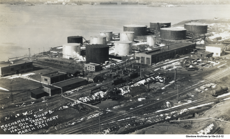 Imperial Oil's Dartmouth main office is outlined in purple. Mechanical shop and fuel oil tanks March,1931