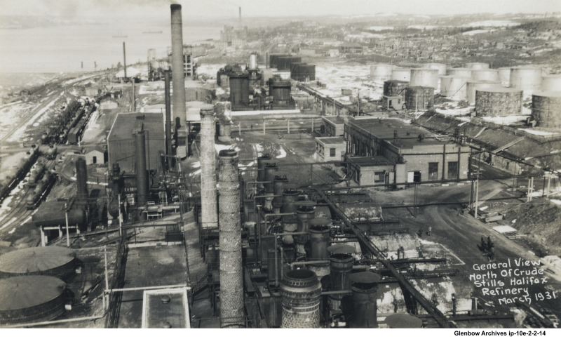 Dartmouth Imperial Oil refinery looking north at crude stills. Woodside-Imperoyal United Church, 11 Everette Street is outlined in green