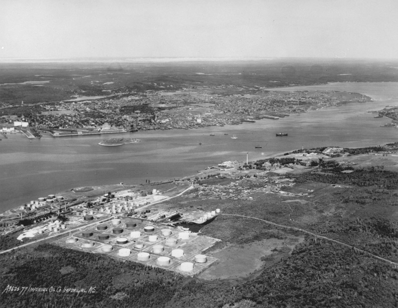 Aerial view of Imperial Oil's Dartmouth Refinery, looking northwest towards Halifax 1931