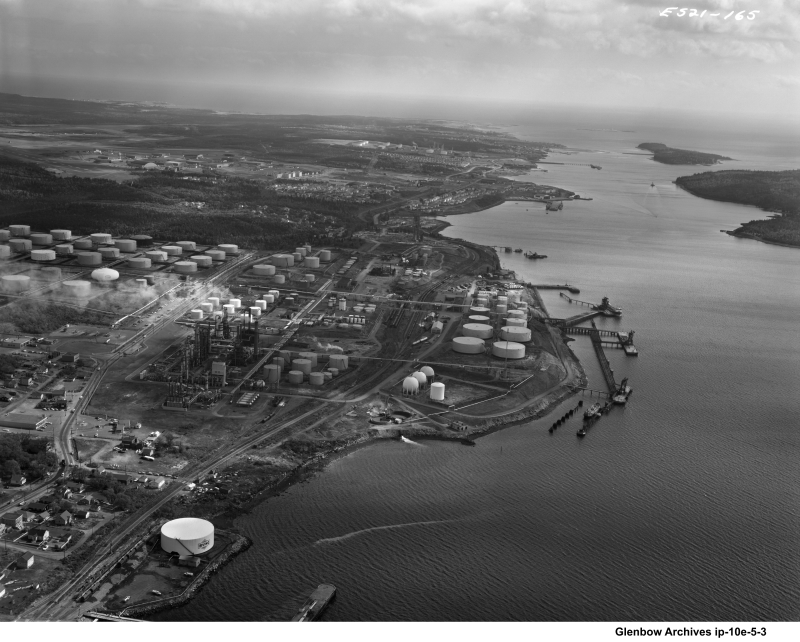 aerial view of Dartmouth Imperial Oil Refinery 1964