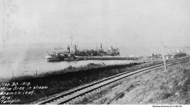 "Oil tanker ""Mina Brea"" at Imperial Oil's Imperoyal Refinery, November 30, 1918"