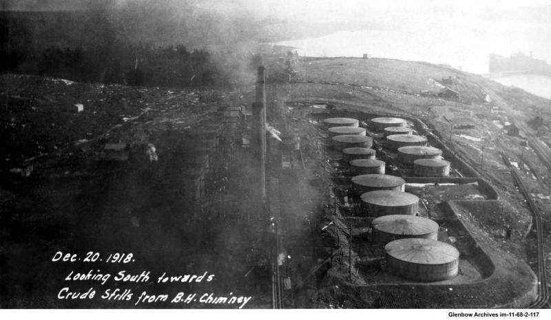 December 20, 1918 Looking south towards crude stills Dartmouth Imperial Refinery
