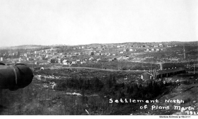 Looking north to (Eastern Passage Road) Pleasant Street from Dartmouth Imperial Oil Refinery March, 1920
