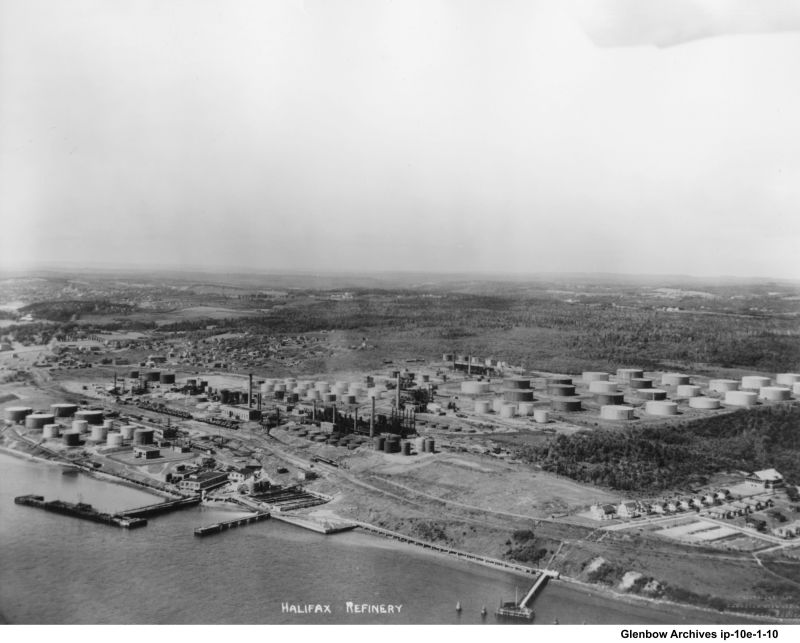Aerial view of  the Dartmouth Imperial Oil Refinery taken in the 1930s.