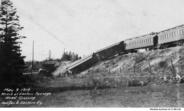 Train wreck, trestle over (Eastern Passage Road) Pleasant Street near Belmont Ave, Dartmouth