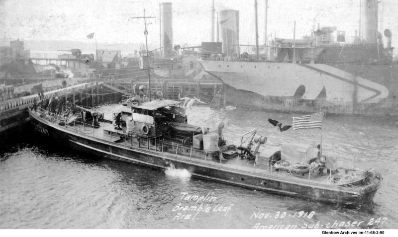 American submarine chaser #247 at Imperial Oil's Imperoyal Refinery, Dartmouth, November 30, 1918