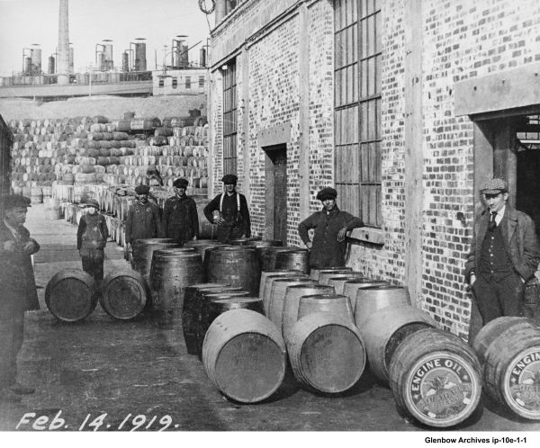 Imperial Oil 1919 - filling building and barrel loading ramp.