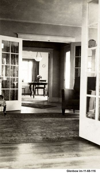 interior of Superintendent's Lockwood style house, at the end of Avenue B. June 1919