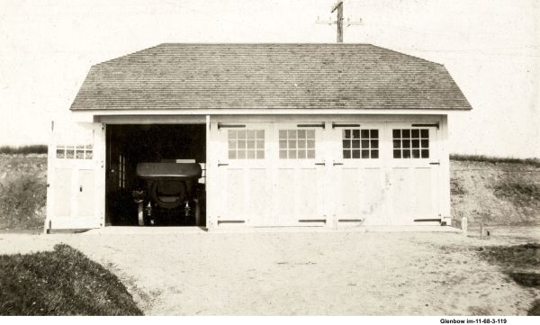 Superintendent's Lockwood style garage, at the end of Avenue B. June 1919