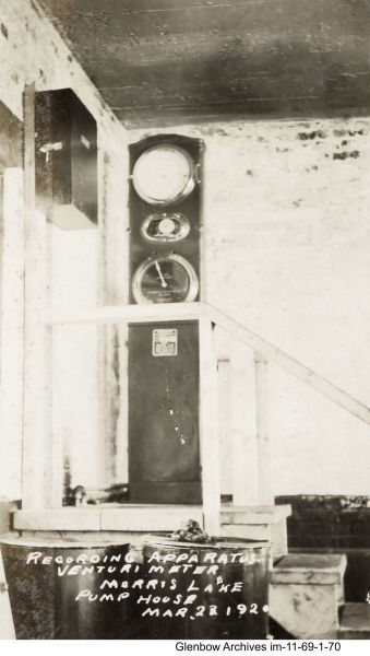 Pump house at Morris Lake, March 23, 1920. Recording apparatus Venturimeter