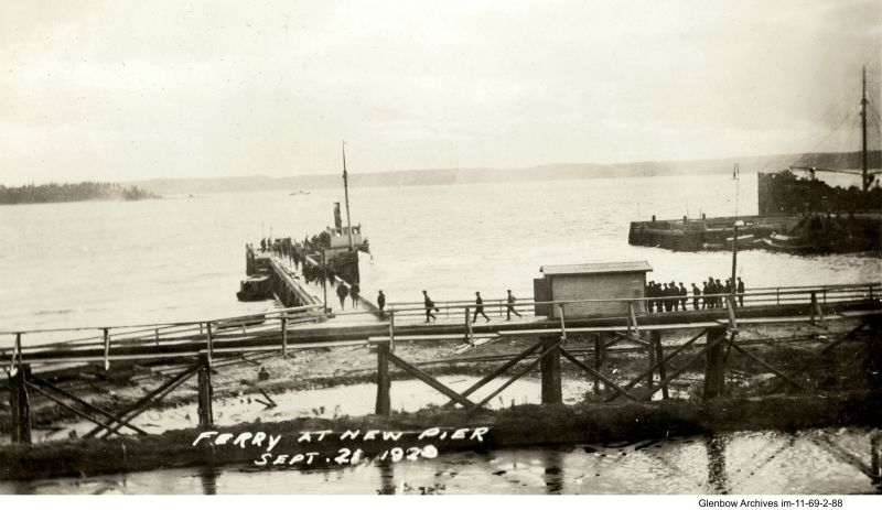 "The ferry ""Wilfred C."" bringing construction workers to new pier at Imperial Oil's Imperoyal Refinery in Dartmouth, September 21, 1920"