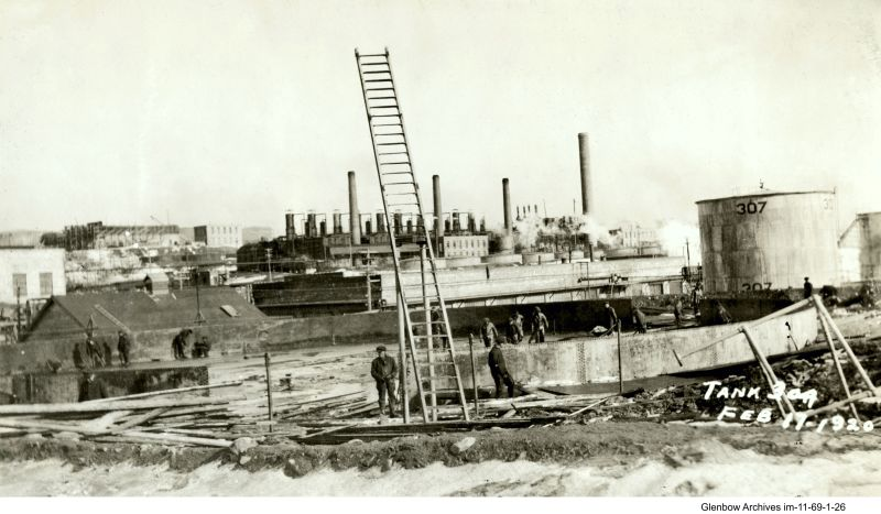 tank 304 under construction, Imperial Oil's Imperoyal Refinery, Dartmouth, February 17, 1920
