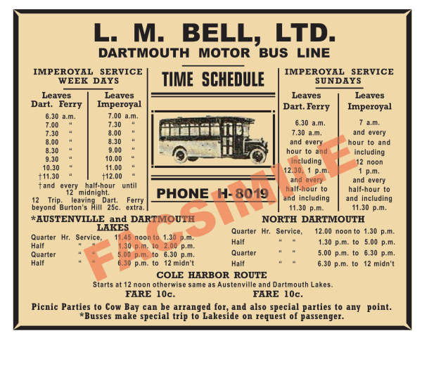 facsimile Bell Bus Schedule to Imperoyal during 1920s