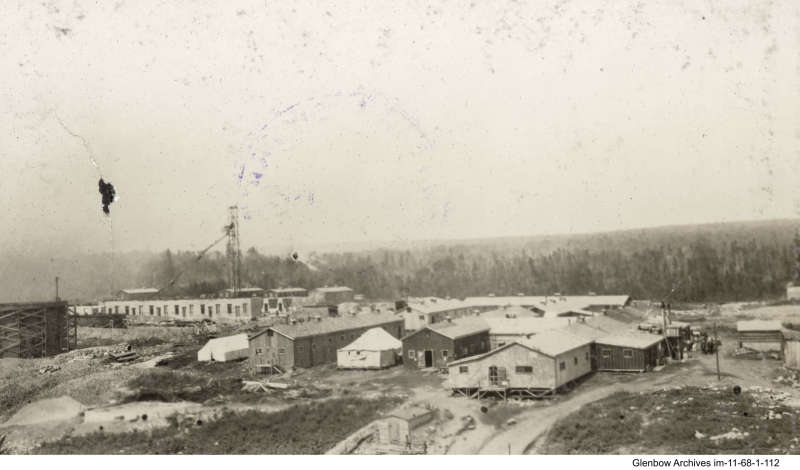 Temporary housing for construction workers building Imperial Oil's Imperoyal Refinery in Dartmouth. Aerial photo taken  in June 1917
