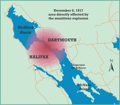 Area effected by the Halifax Explosion December 6,1917