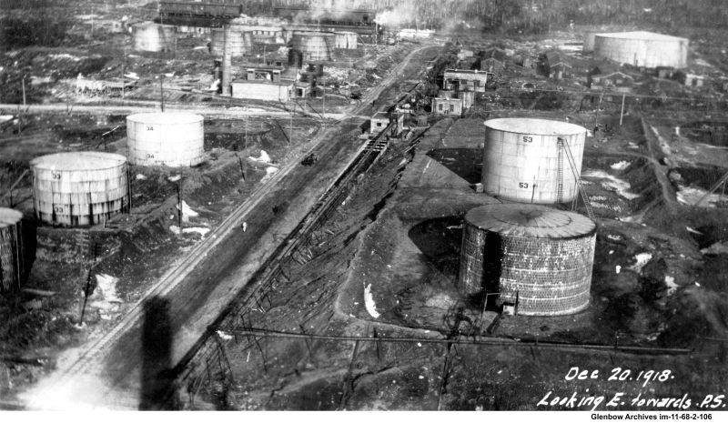 Contruction on storage tank field, Dartmouth Imperial Oil Refinery December 20, 1918.