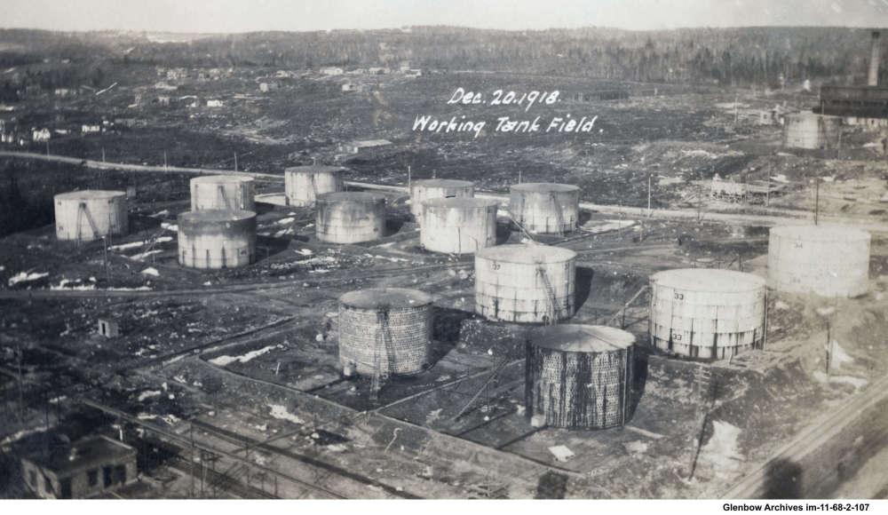 Working tank field Dartmouth Imperial Oil Refinery December 20,1918. Looking east, Pleasant Street and pressure stills beyond.