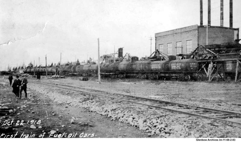 First train of fuel oil cars at Imperial Oil's Imperoyal Refinery October 22, 1918