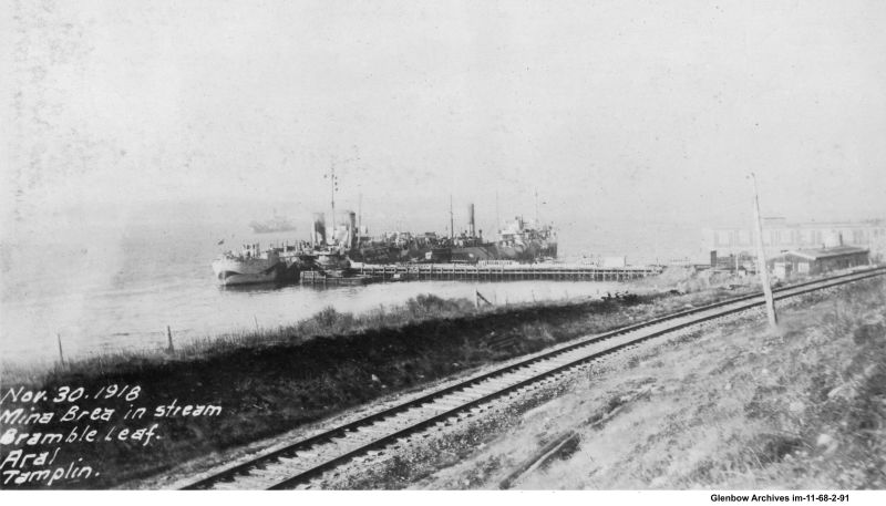 """Oil tanker """"Mina Brea"""" at Imperial Oil's Imperoyal Refinery, November 30, 1918"""