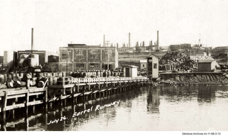 barrel runway, Imperial Oil's Imperoyal Refinery, Dartmouth,  July 26, 1919