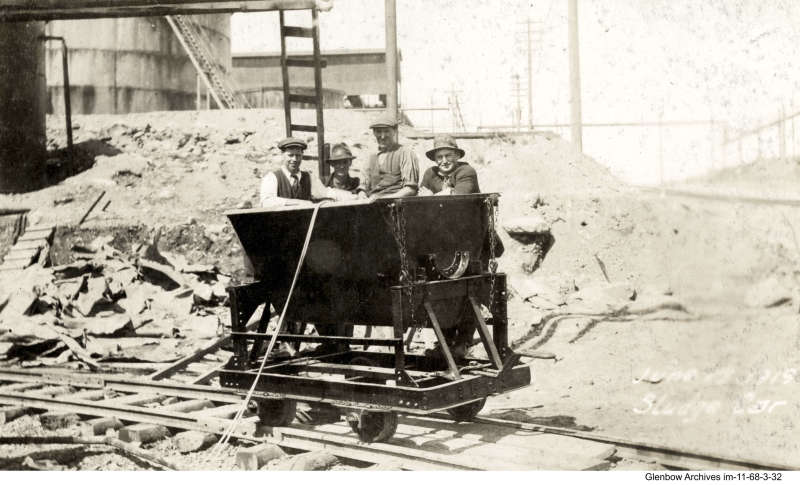 employees in sludge car, Imperial Oil's Imperoyal Refinery, Dartmouth, June 1919
