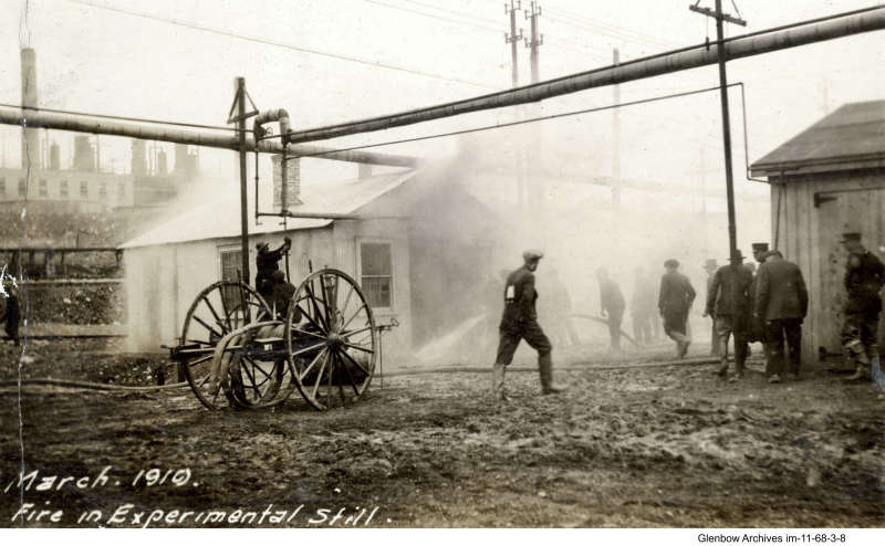 fire at an experimental still, Imperial Oil's Imperoyal Refinery, Dartmouth, March 1919