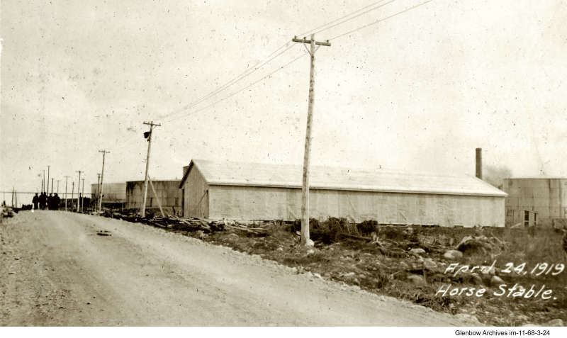 horse stable, Imperial Oil's Imperoyal Refinery, Dartmouth, April 24, 1919