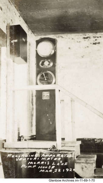 Pump house at Morris Lake, March 23, 1920. Recording apparatus Venturimeter