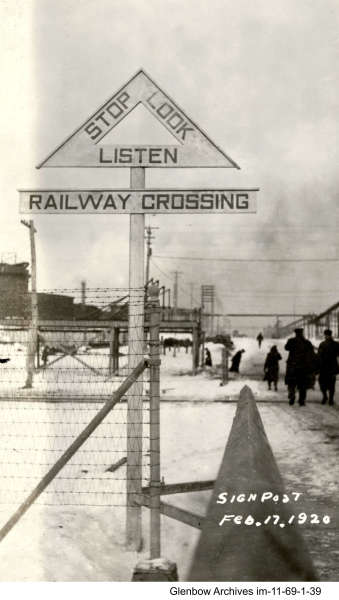 Imperial Oil's Imperoyal Refinery, Dartmouth, railway crossing February 17, 1920