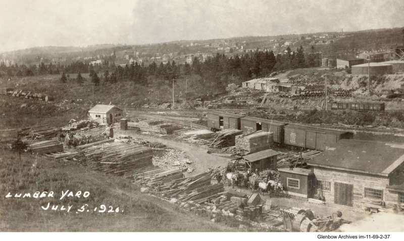 Lumber Yard at Imperial Oil's Imperoyal Refinery, Dartmouth July 5, 1920