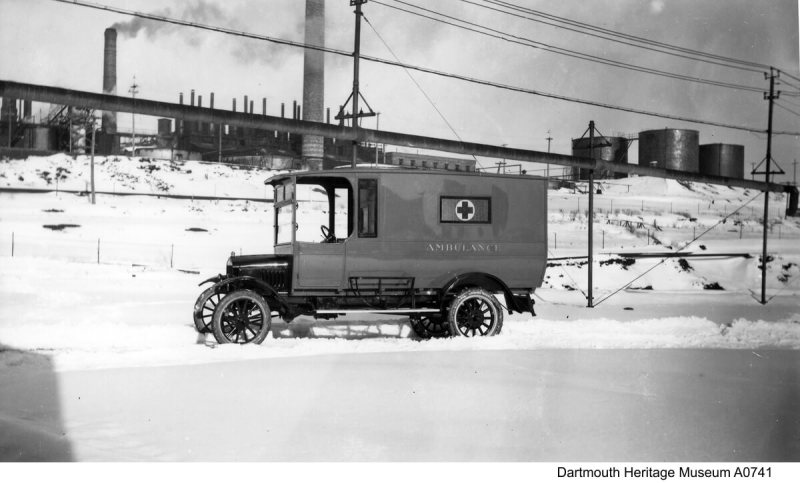 Dartmouth's first ambulance was provided by Imperial Oil's Imperoyal Refinery, photo taken in 1920