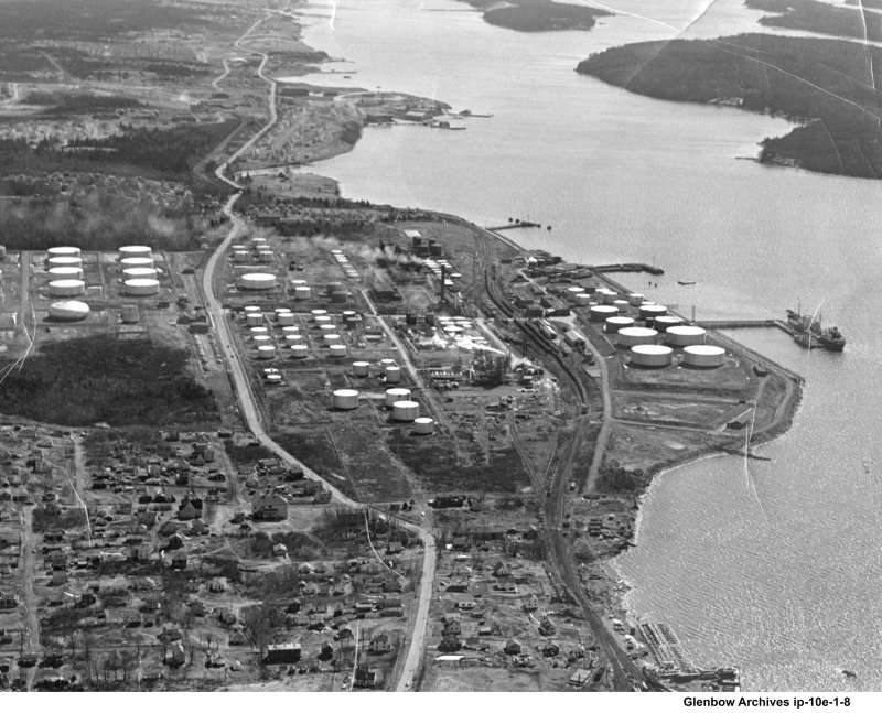 Aerial view of Imperial Oil's Imperoyal Refinery, Dartmouth 1930s