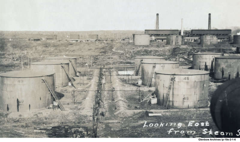 View of Imperial Oil refinery Dartmouth, NS December, 1925 looking east from steam stills
