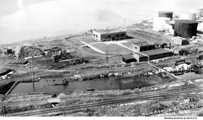 Imperial Oil's  Dartmouth main office (outlined in purple) March, 1931. The building would remain at this location until the mid 1960s